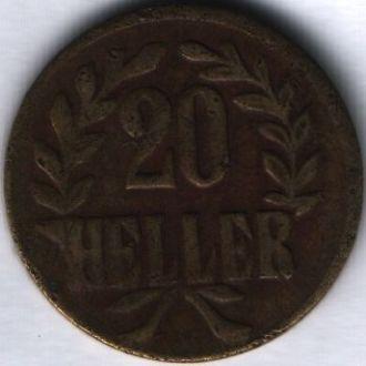 Германская Восточная Африка 20 геллеров Т 1916 г