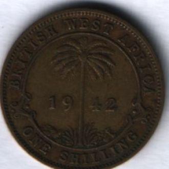 британская западная африка 1 шиллинг 1942г