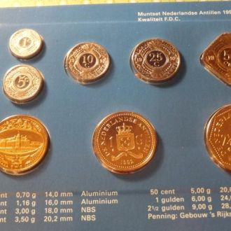 Антилы 1992 набор монет Антильские о. буклет UNC