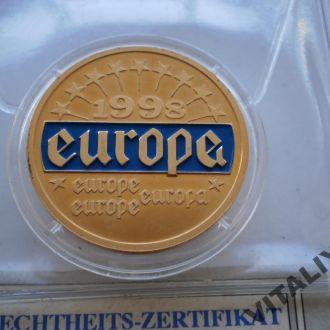 евро жетон Європа Европа europe 1998 рік  жетон монета позолота + сертифікат + Капсула