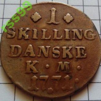 1 скиллинг 1771 Дания ОТЛИЧНОЕ СОСТОЯНИЕ!!!