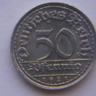 50 пфенниг 1921E, сост.aXF. Без резервной цены!