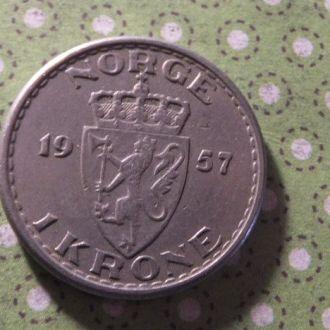 Норвегия монета 1 крона 1957 год !