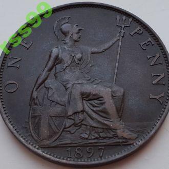 Англия 1 пенни 1897 ОТЛИЧНЫЙ СОХРАН!