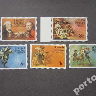 5 марок Гренада Гренадины 1976 революция США MNH