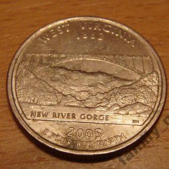 25 центов США Западная Вирджиния