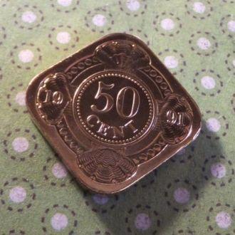 Антилы монета 50 центов 1991 год Антильские остров !