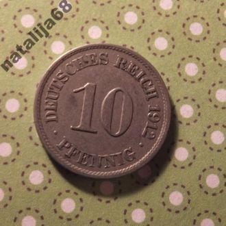 Германия монета 10 пфенингов 1912 год J !