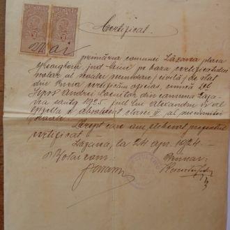 Документная марка 1924 г ( Румыния)