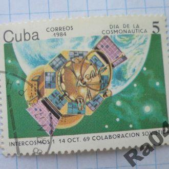 Марка почта Куба 1984 Спутник Интеркосмос-1 Космос