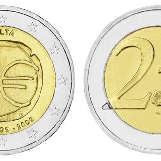 Мальта ,2 евро 2009 10 лет валютному союзу