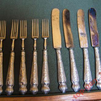 Набор-ножи вилки 19в. серебро. 9шт.Австрия