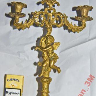 Старый подсвечники- БАРОККО -Ангел-бронза