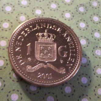 Антилы монета 1 гульден Антильские остров 2001 год !