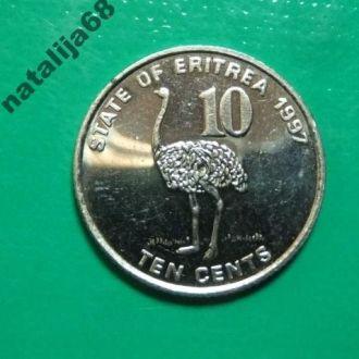 Эритрея 1991 год монета 10 центов фауна !