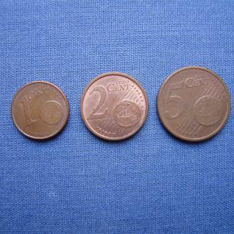 Германия 1,2,5 евро центов 2002/2006/2002 гг
