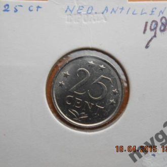 Нидерландские Антиллы,25 центов,1981 год .