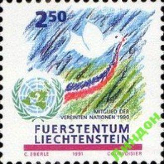 Лихтенштейн 1991 ООН герб птицы ** о