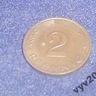 ФРГ-1990 г.-2 пфеннигa (G)