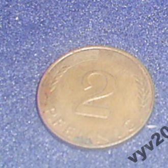 ФРГ-1990 г.-2 пфеннигa (F)
