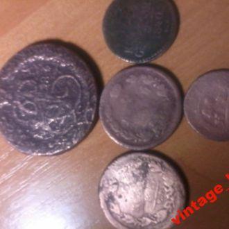 5коп1786 2коп(2)1818-20 1коп сер1840 деньга 1741г