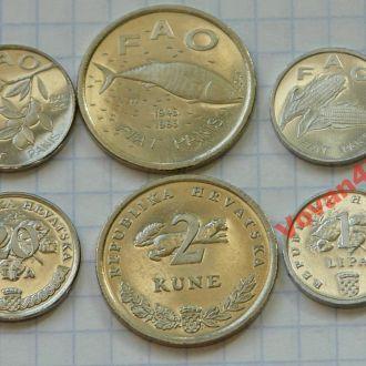 Хорватия  - набор монет ФАО, 3с, ФАУНА, 1995г.