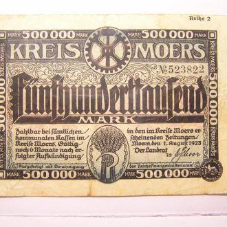 Німеччина MOERS Моерс 500 000 Тыс Марок 1923 Reih2