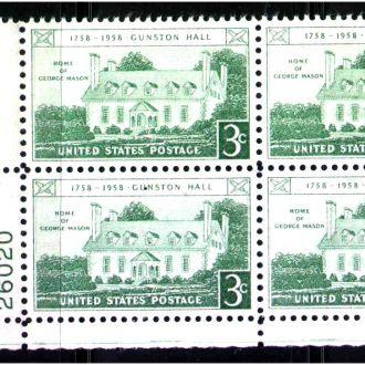 ZM А США 1958 г MNH - кварт-блок