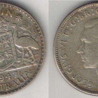 Австралия Флорин Florin 1947 Georgivs VI серебро