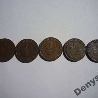 ФРГ 2 пфеника 5 монет 1958,63,64,65,66