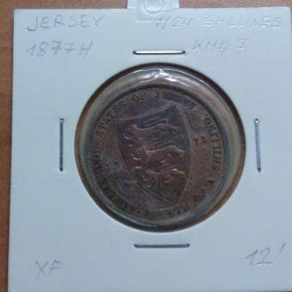 Джерси 1/24 Shillings  1877H XF KM#7