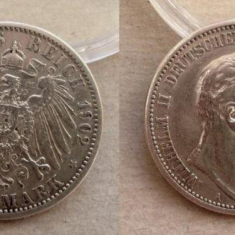 Германия Пруссия 2 марки 1902 серебро Ag СОХРАН !!