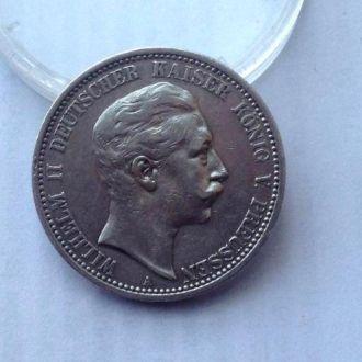 Германия Пруссия 2 марки 1905 серебро Ag СОХРАН !!