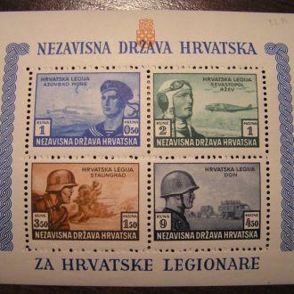 1943 Хорватия Хорватія Украина Блок 5 Mi111-114 **