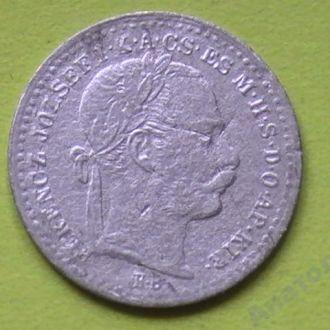 10 Крейцеров 1870 г КВ Серебро 10 Крейцерів 1870 р