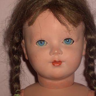 Старая кукла ГДР Целлулоид резинки паричок пищалка