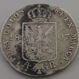 Восточная Пруссия 4 гроша =1/6 талера 1807 серебро