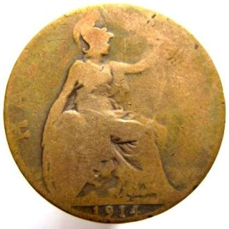 Великобритания 1/2 пенни 1914 год