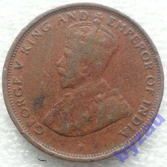Британский Цейлон 1 цент 1928 г.
