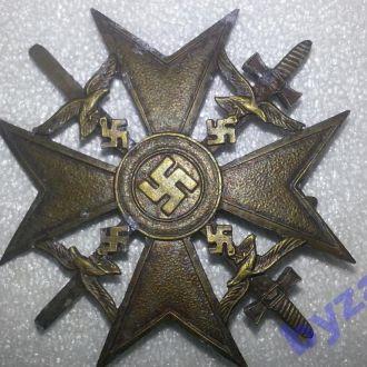 Германия 3 Рейх Испанский Крест в бронзе с мечами