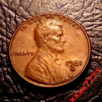 1 цент 1981 года  D  США СОСТОЯНИЕ !!!