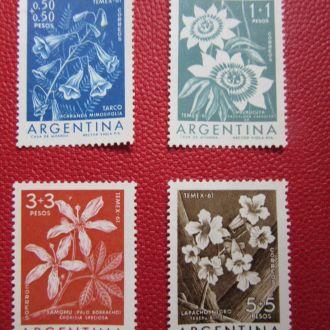 1960 г.АРГЕНТИНА. флора 4 марки без надпечатки.