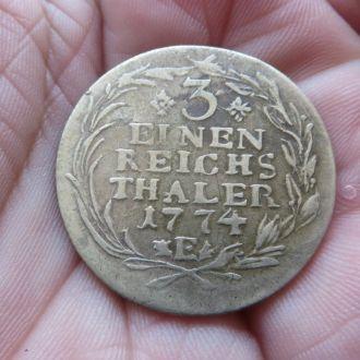 Пруссия 1/3 талера 1774 E  Редкая !!!