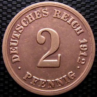 Германия 2 пфеннига (PFENNIG) 1912 год (F)