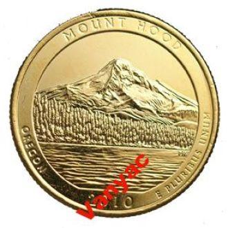 Позолоченная монета 25 центов Mount Hood (2010) D