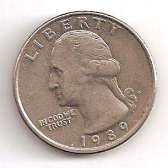 Монета 25 центов (1989) P США