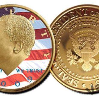 Цветная позолоченная монета 50 центов Обама