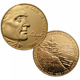 Позолоченная 5 центов OCEAN IN VIEW 2005 UNC США