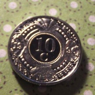 Антилы монета 10 центов 1996 год Антильские остров !