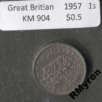Англия (1957) - 1 шиллинг - СОСТОЯНИЕ!!!